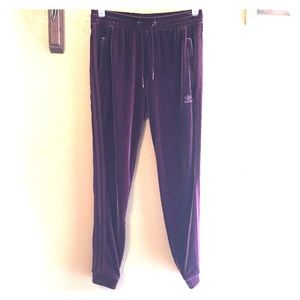 Adidas velour track pants medium burgundy color